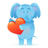 Elephant pet  holding heart Stock Photos