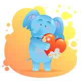 Elephant pet isolated holding heart Stock Photography