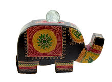 Elephant Piggy Bank With Coin On White Background Stock Images