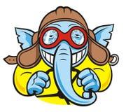 Elephant pilot. Cartoon smiling elephant as pilot (driver Stock Photography