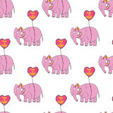 elephant pink Αρχικός συρμένος χέρι χαρακτήρας κινουμένων σχεδίων Στοκ φωτογραφίες με δικαίωμα ελεύθερης χρήσης