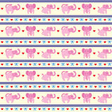 Elephant Pink Fun Pattern Stock Image
