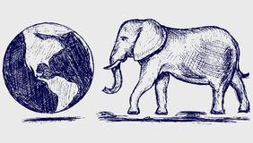 Elephant and planet Royalty Free Stock Photography