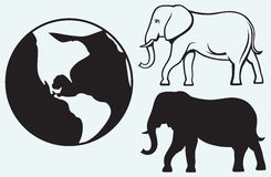 Elephant and planet. Isolated on blue batskground Royalty Free Stock Images