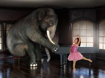 Free Elephant Playing Piano, Ballet Dancer, Surreal Music Royalty Free Stock Photo - 176970925