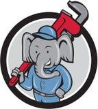 Elephant Plumber Monkey Wrench Circle Cartoon Stock Images