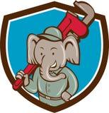 Elephant Plumber Monkey Wrench Crest Cartoon Stock Photos