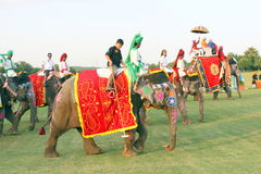 ELEPHANT POLO. RISSALA POLO CLUB  elephant polo - at kARNAL - ELEPHANT POLO MATCHES ARE HELP EVERY YEAR AND IS MOST POPULAR SPORT IN RAJASTHAN AND  HARYANA Royalty Free Stock Photo
