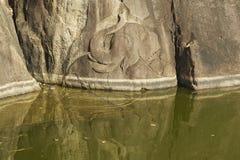 Elephant pond carving in Isurumuniya rock temple in  Anuradhapura, Sri Lanka. Royalty Free Stock Photography