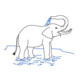 Elephant pouring itself with water Stock Photo