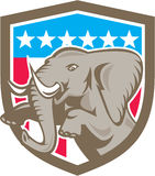 Elephant Prancing Stars Shield Retro Royalty Free Stock Images