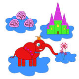 Elephant princess flying on a cloud and looking at her kingdom. Fairy kingdom located in the clouds Royalty Free Stock Photos