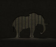 Elephant protection. Zoo cage. International Day of Action for Elephants in Zoos. Zoo cage (enclosure) with grate bars as elephant silhouette as symbol of Royalty Free Stock Photography