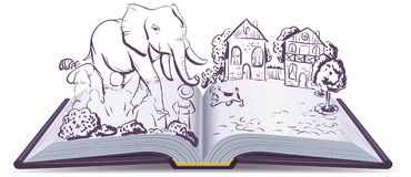 Elephant and Pug story. Illustration open fable book. Vector cartoon drawing vector illustration