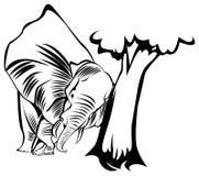Elephant push tree. Line art black and white illustration of elephant push tree Royalty Free Stock Photography