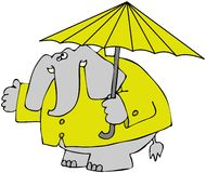 Elephant In A Raincoat. This illustration depicts an elephant in a raincoat and holding an umbrella Royalty Free Stock Photography