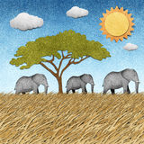 Elephant recycled paper background royalty free illustration