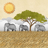 Elephant recycled paper background Royalty Free Stock Photo