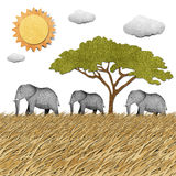 Elephant recycled paper background Stock Image