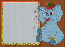 Elephant relief painting on generated wood texture background Royalty Free Stock Image