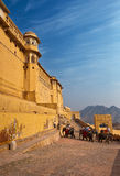 ELEPHANT RIDE TO THE AMBER FORT,RAJASTHAN,INDIA. Stock Image