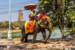 Elephant rides by the Temple Ruins Stock Image
