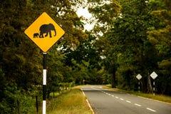 Elephant road sign. An elephant road sign in Sri Lanka stock photo
