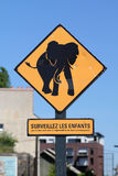 Elephant roadsign in Nantes France Royalty Free Stock Photos