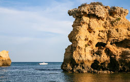 Elephant rock on beach Sao Rafael near Albufeira Royalty Free Stock Image