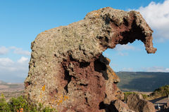 The Elephant Rock. Italian Roccia dell`elefante is a rock formation about 5 meters high formed by weathering, which looks like an elephant from a suitable angle stock photo