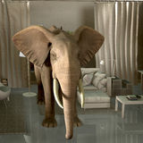 Elephant in the room. Phrase concept royalty free illustration