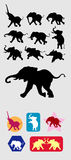 Elephant running silhouettes Stock Photography