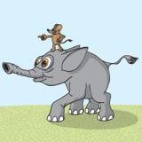 Elephant runs naprvlyaemy mouse. Royalty Free Stock Images