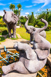 Elephant's Family Sculpture. In Park Royalty Free Stock Photos