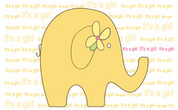 Elephant - It's a Girl Illustration - Vector Imag Stock Photo