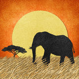 Elephant in Safari field recycled paper background vector illustration