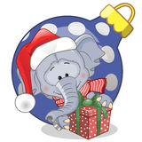 Elephant in a Santa hat Royalty Free Stock Photography