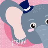 Elephant Cute animal cartoon. Elephant Saying hello cartoon vector illustration graphic design Stock Images
