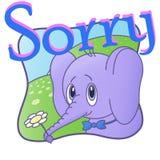 Elephant says sorry, Cute postcard. Cartoon. Flower1 vector illustration