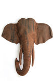 Elephant sculpture. Elephant wood picture carves on white ground Royalty Free Stock Photography
