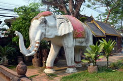 Elephant sculpture at Buddhist temple Royalty Free Stock Images