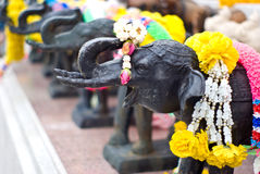 Elephant sculpture and flower for worship Stock Photography