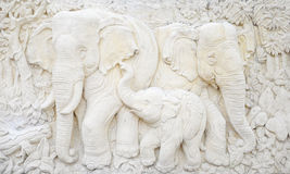 Elephant sculpture is made of a stone. Stock Photography