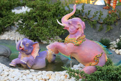 Elephant sculpture statues decorated on the garden Stock Photography