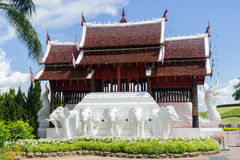 Elephant sculpture and thailand roof design Stock Image
