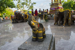 Elephant sculpture to worship in the temple or the place for wor Royalty Free Stock Photo