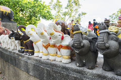 Elephant sculpture to worship in the temple or the place for wor Stock Photo