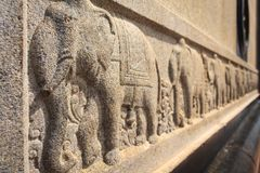 Elephant sculpture at Vivekananda Rock Memorial, Kanyakumari. A sculpture depicting elephants standing one behind the other at Vivekananda Rock Memorial Stock Image