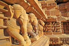Elephant Sculptures at Khajuraho, India. UNESCO world heritage site. royalty free stock photography