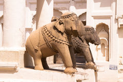 Elephant Sculptures at Old Jaina Temples of Khajuraho Royalty Free Stock Images